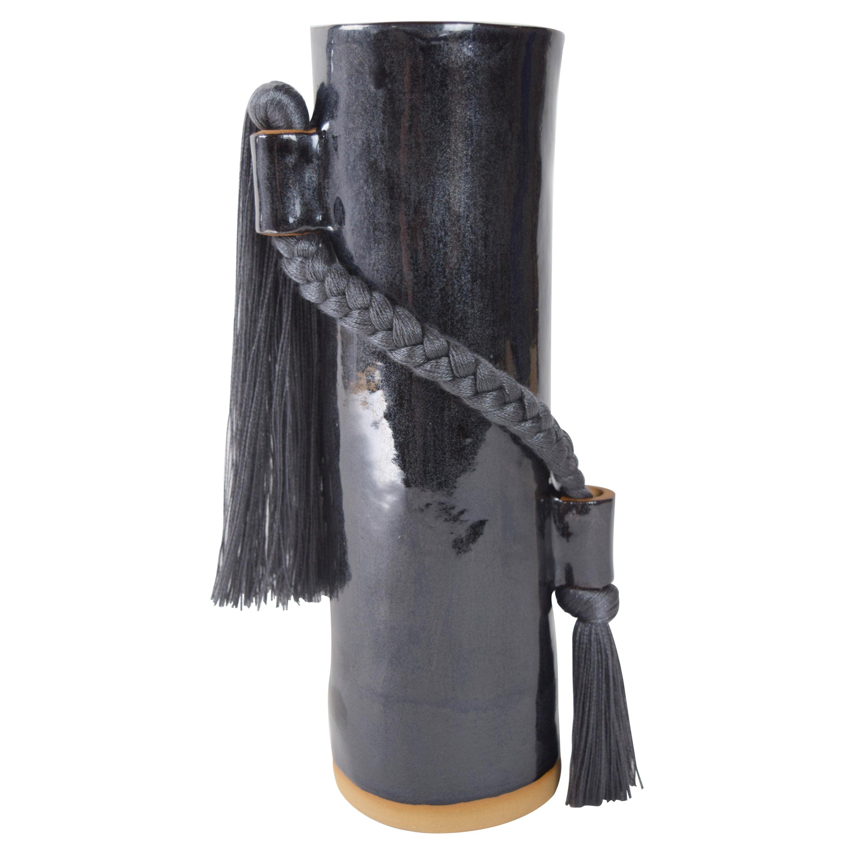 Handmade Vase #695 in Black with Charcoal Tencel Fringe