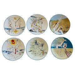 """Salvador Dali Porcelain Plates """"Le Conquete du Cosmos"""" by Limoges Set of 6"""