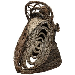 Woven Painted Basketry Old Yam Helmet Mask with Sculptural Face Papua New Guinea