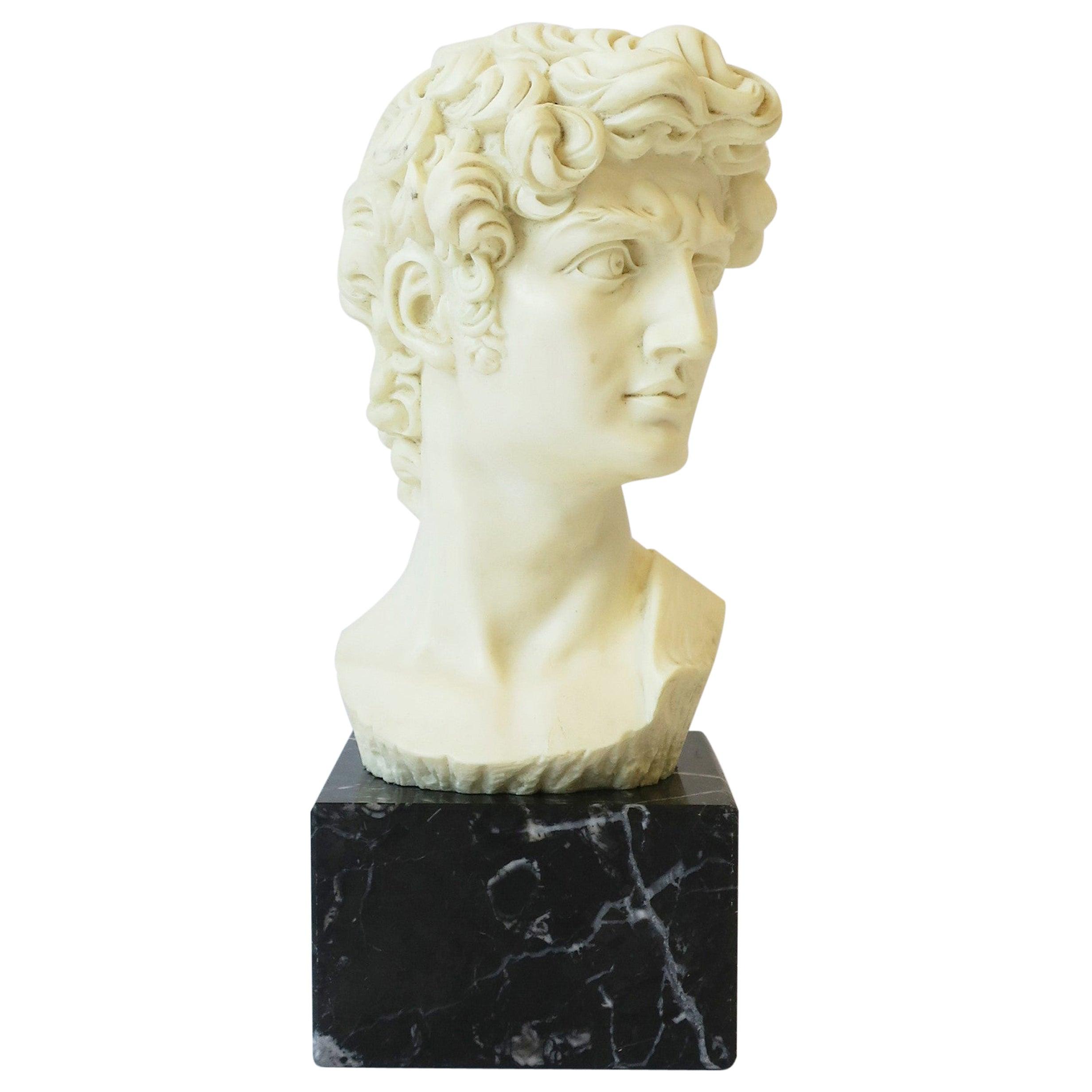 Italian Roman 'David' Sculpture on Black Marble Base