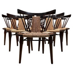 1950s Edmond Spence Yucatan Set of Six Mahogany Wood Woven Seagrass Cane Chairs