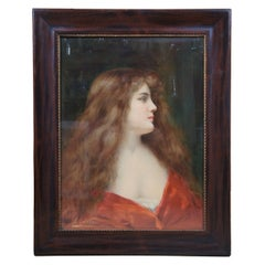 Antique Angelo Asti Chromolithograph Ad Print Virginia Dare Woman in Red