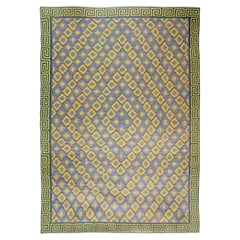 Oversized Mid-20th Century Indian Dhurrie Blue, Purple, Yellow Cotton Rug