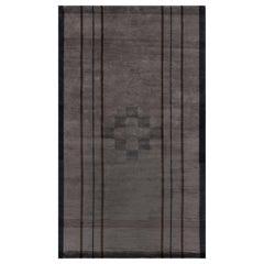 Doris Leslie Blau Contemporary Black, Brown, Hand Knotted Wool, Silk Rug