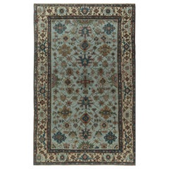Antique Persian Heriz Rug in Beige, Blue, Brown, Green and Red