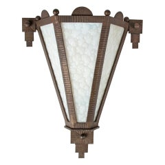Early 20th Century Art Deco Forged Iron Wall Lamp Sconce