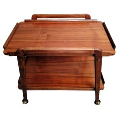 Cesare Lacca Designer Mahogany Serving Trolley with Removable Tray
