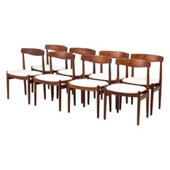 Danish Dining Chairs in Solid Teak and Linen Upholstery, 1950s, Set of Eight