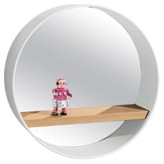 Oblò Mirror in Lacquered Aluminium, Oak and Clear Mirror by Discipline Lab