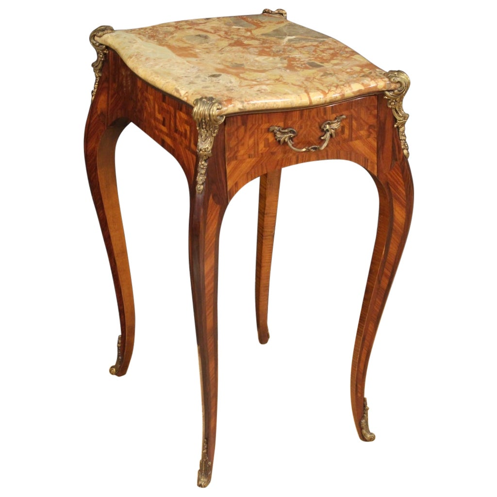 20th Century Inlaid Wood with Marble Top French Napoleon III Style Side Table
