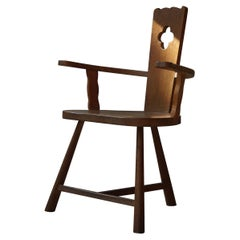 Sculptural Vintage Armchair in Solid Oak, Early 20th Century