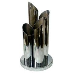 Table Lamp with Four Lights Steel Tubes Design Gaetano Sciolari, 1970s
