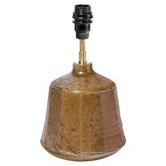 Brown Stoneware Ceramic Table Lamp by La Borne Potters circa 1980 Design