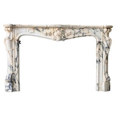 Monumental 19th Century Rococo Fireplace in Paonazzo Marble.