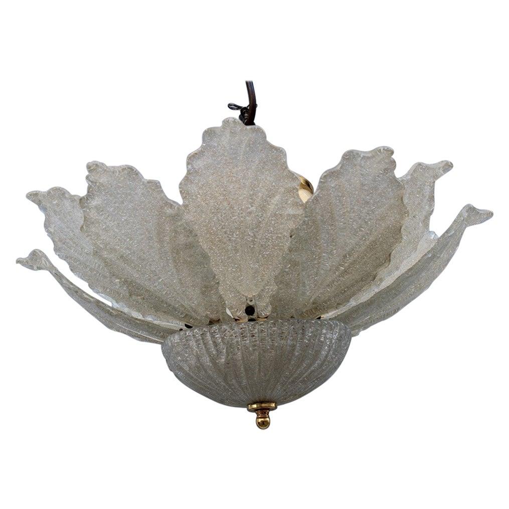 Italian Flower Murano Glass Chandelier Trasparent and Gold, 1970s