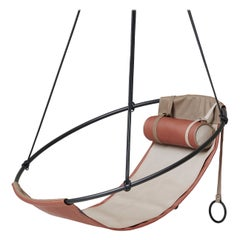 Modern Sling Hanging Chair, Outdoor Sandy Colour, Vegan and Eco Friendly