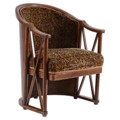 Original Josef Hoffmann 1908 Barrel-Chair, Kohn, Jugendstil, Early 20th Century