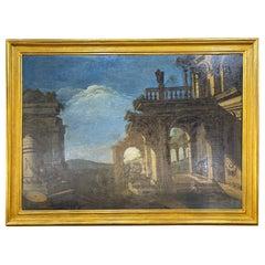 18th Century Italian Louis XIV Painting Capriccio Romano, 1750s