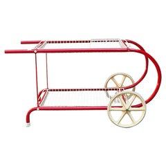 Italian Mid-Century Modern Red Metal Food Cart by Emu, 1980s