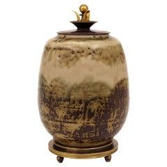 Carl Halier, Denmark, Stoneware Sung Glazed Vase, Base and Cover of Bronze