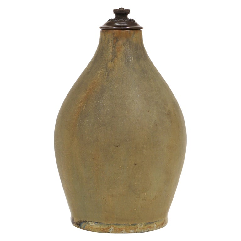 Stoneware Vase, Cover of Patinated Bronze, Manufactured by Royal Copenhagen For Sale