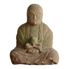 1750-1850 Japanese Old Stone Buddha /Bodhisattva/ Garden Figurine/Edo Period