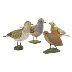 Collection of Four Decorative Swedish Folk Art Wood Cut Birds, Sweden circa 1900
