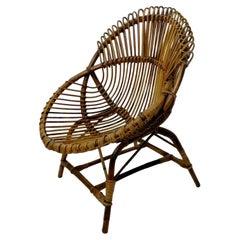 Bamboo Armchair Wicker Chair by Bonacina, 1960s