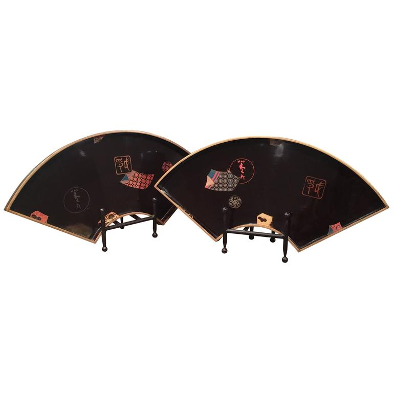 Pair of Large Japanese Lacquer Fan Trays
