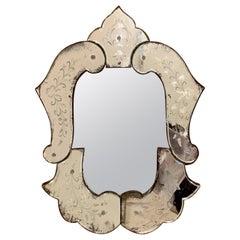 Antique Belle Époque Venetian Etched Glas Wall Mirror Ivy Bows