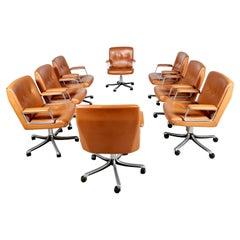 P128 Office Chairs by Osvaldo Borsani for Tecno, Italy, circa 1970s