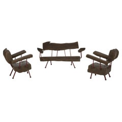 Mexican Modern Bench and Lounge Chairs Vignette in Sabino Wood, Iron, Brass