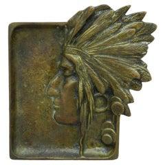 American Native Head Bronze Dish Vide Poche Ashtray Art Nouveau