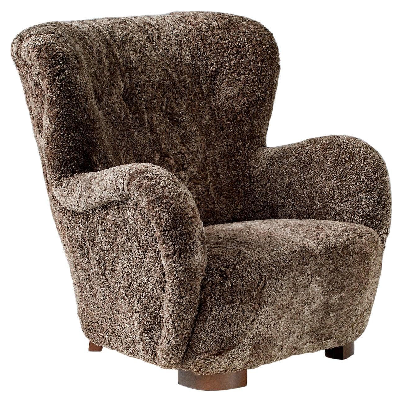 Danish Cabinetmaker 1940s Sheepskin Wing Chair