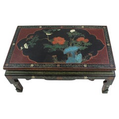 Vintage Hand Decorated Lacquered Chinese Coffee Table