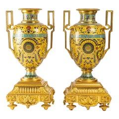Pair of Pompeian Decorated Vases