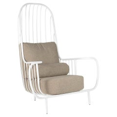Modern Liberty Armchair High Back in White Lacquered Inox and Bouclé Cushions