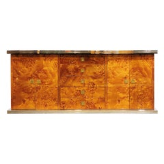 Vintage Burl Wood Credenza by Willy Rizzo, 1970s