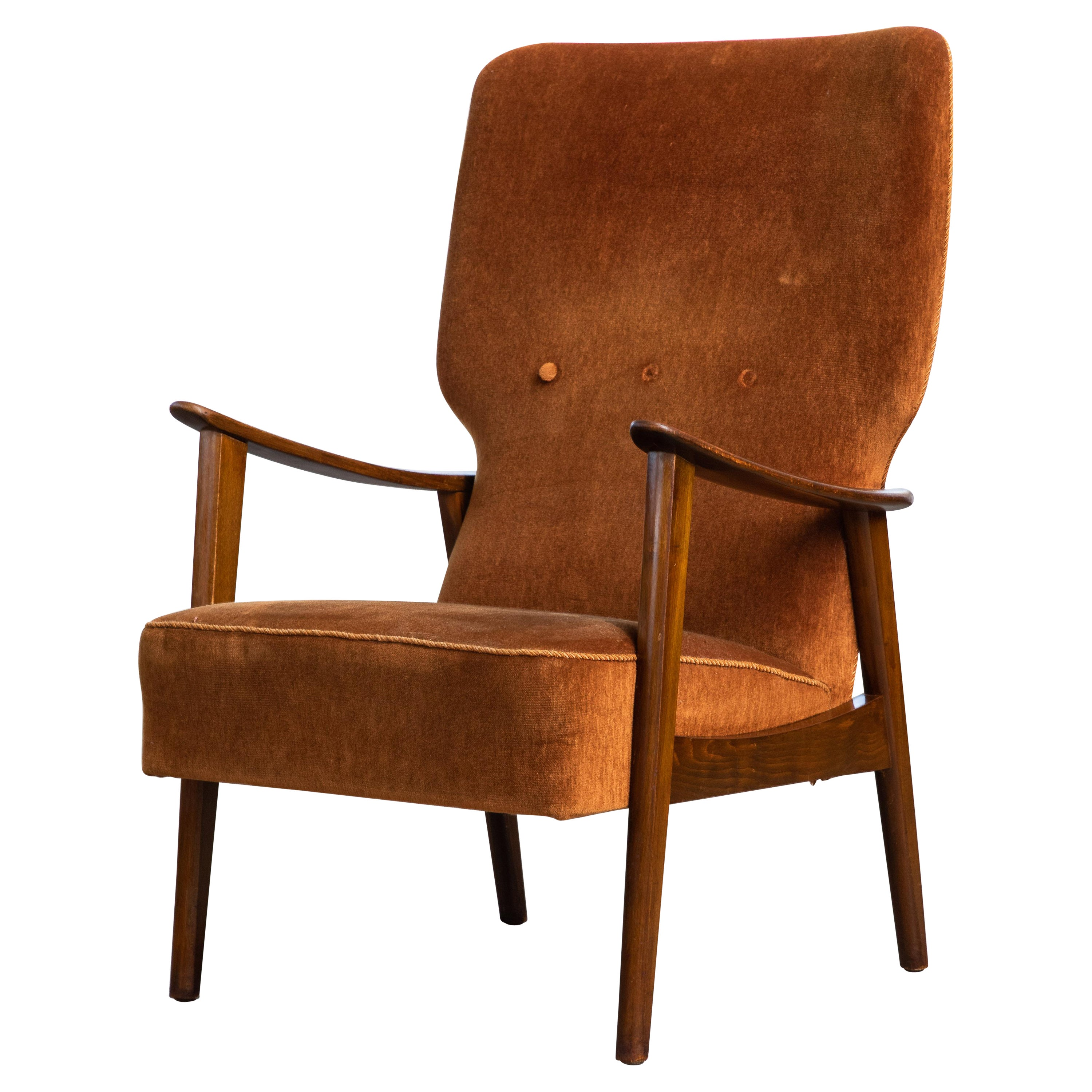 Danish Midcentury Easy Chair in Stained Oak by Fritz Hansen, ca. 1950