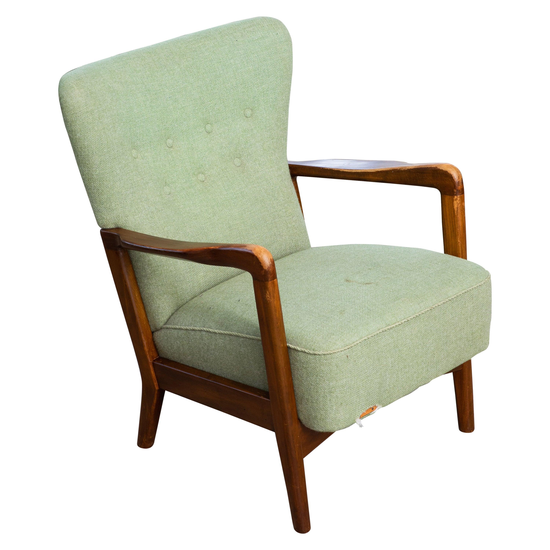 Danish 1940s Lowback Open Armrest Lounge Chair by Soren Hansen for Fritz Hansen