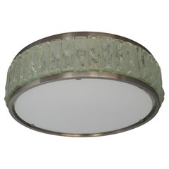 """Fine Round Nickeled and Glass """"Queen's Necklace"""" Ceiling Light by Perzel"""