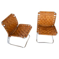 Set of Two Lounge Chairs with Patinated Cognac Leather, Italy, 1970s
