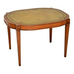 Antique Wood & Leather Coffee / Occasional Table