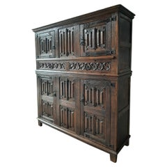 Amazing Gothic Revival High Credenza with Hand Carved Church Windows Early 1900s