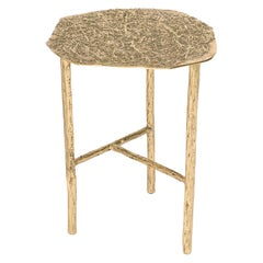 Modern Art Gallery Country Side Table in Polished Brass Cast, Inspired by Nature