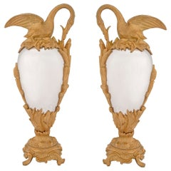 Pair of 19th Century Neoclassical Style Bronze and Ormolu Decorative Ewers