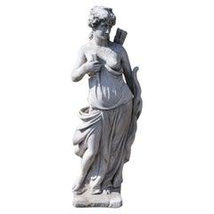 20th Century Italian Neoclassical Stone Garden Statue Diana, Goddess of the Hunt