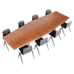 Large Trapezium Conference Table Walnut Wood The Netherlands 1970