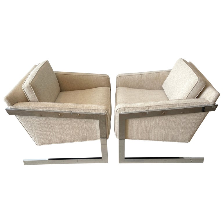 Pair of 1970s Chrome Cantilever Club Chairs, Newly Upholstered For Sale