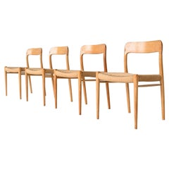 Niels Otto Moller Model 75 Oak Dining Chairs Denmark 1960